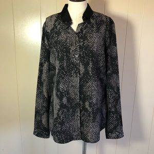 T. Tahari long sleeve black gray blouse medium